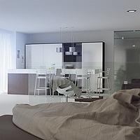 Visuel 3d architecture : Un grand studio design haut-de-gamme.
